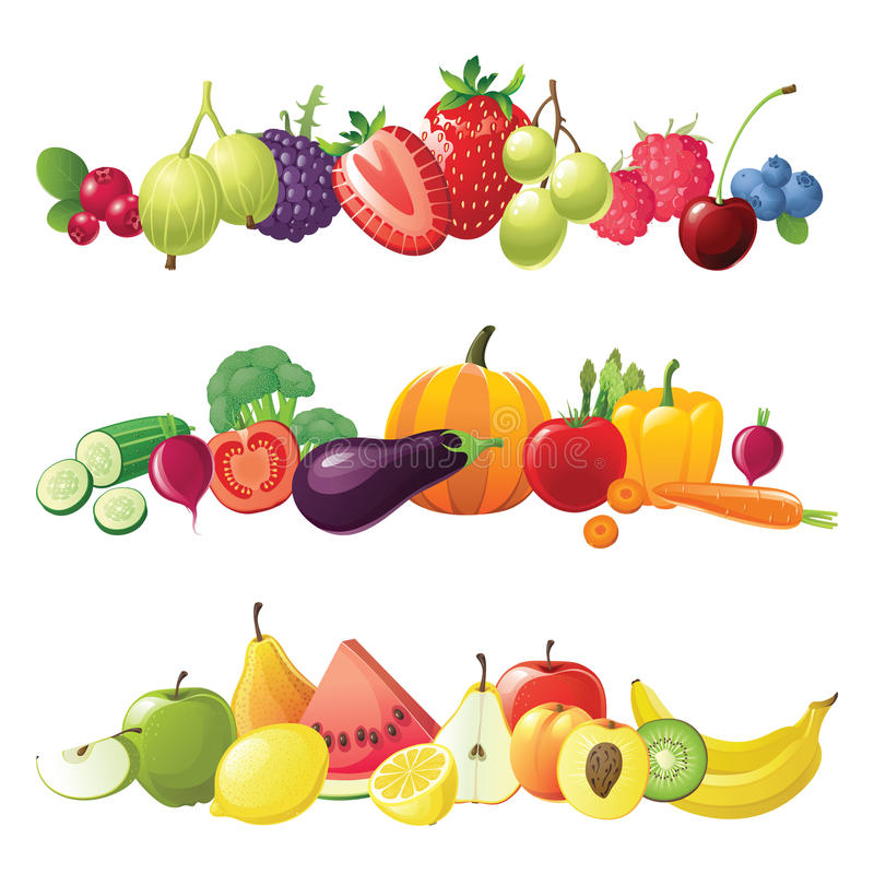 Vegetais de frutas e beiras das bagas ilustração royalty free