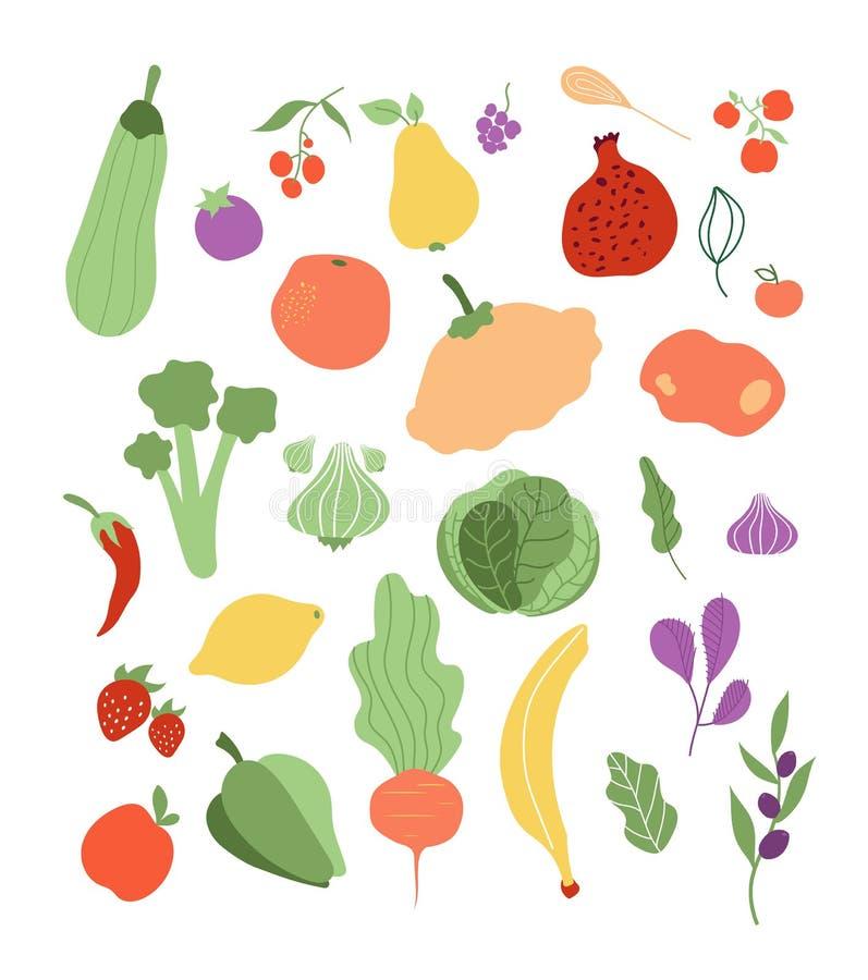 Vegetais de frutos da cor Polpa da maçã da pimenta da couve da banana do limão da cebola Vegetal delicioso do alimento biológico  ilustração stock