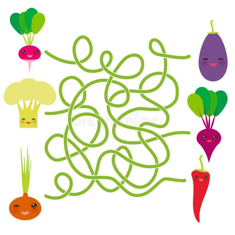 Vegetais de Kawaii na beringela branca o Chile da beterraba das cebolas da couve-flor dos rabanetes do fundo jogo do labirinto pa ilustração do vetor