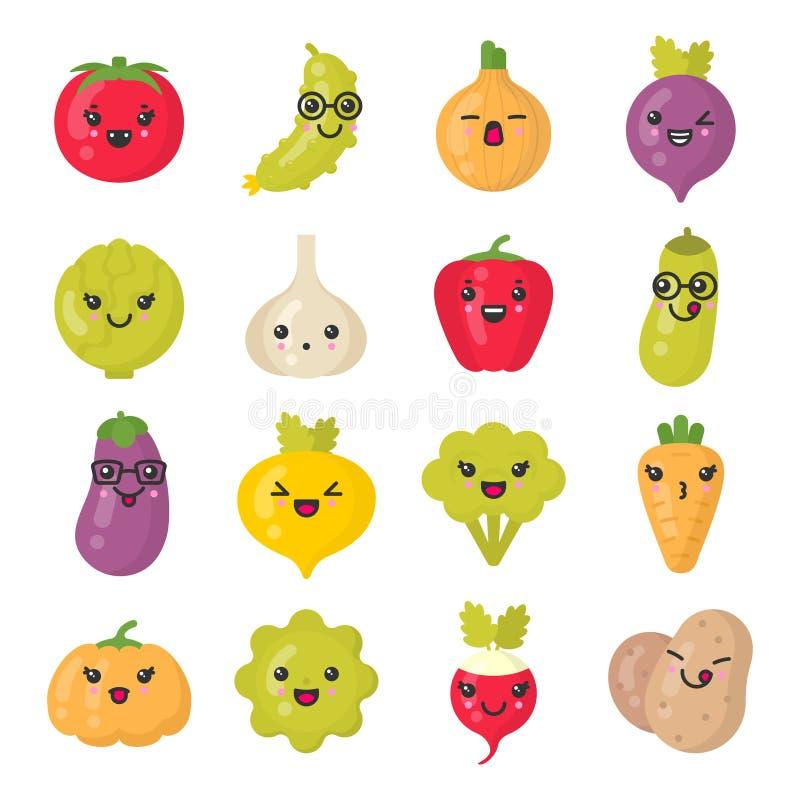 Vegetais de sorriso bonitos, grupo colorido isolado do ícone do vetor ilustração stock