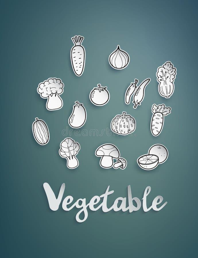 Vegetais do desenho a mão livre, ilustração do vetor ilustração royalty free