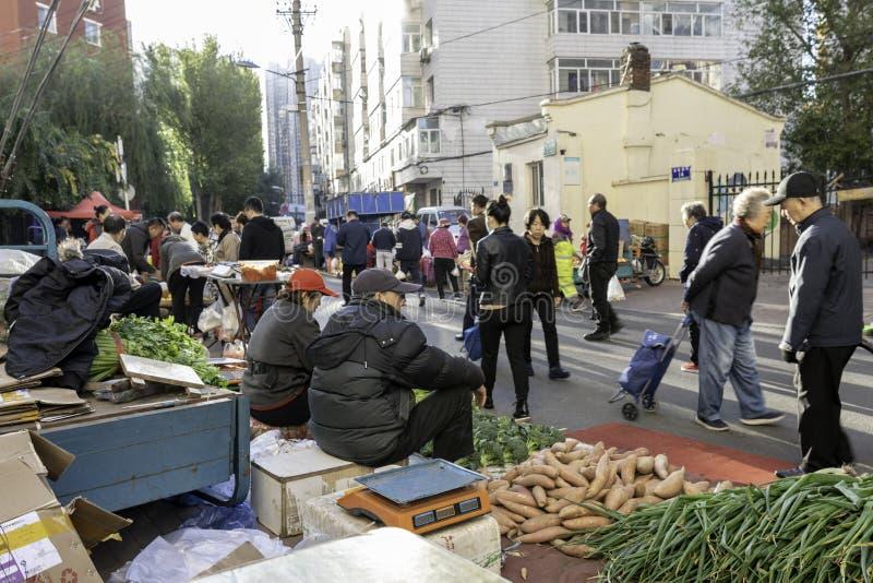 Vegetais do mercado dos fazendeiros de Harbin na rua fotografia de stock royalty free