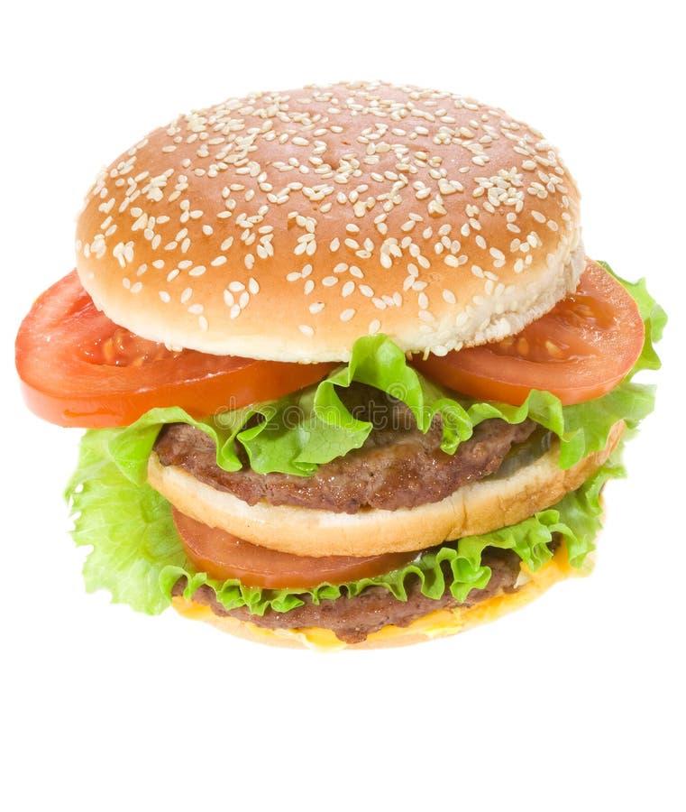 Vegetais dobro do rwith do hamburge fotos de stock royalty free
