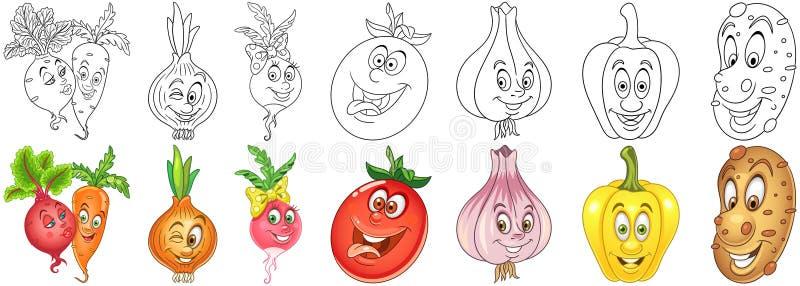 Vegetais dos desenhos animados ajustados ilustração royalty free
