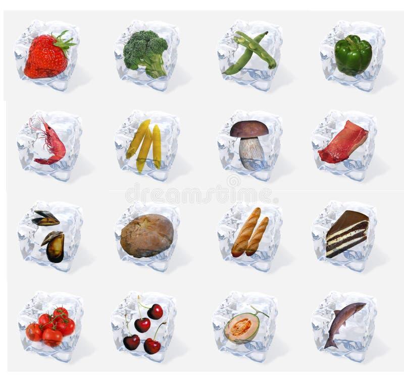 Vegetais e alimento congelados em cubos de gelo ilustração do vetor