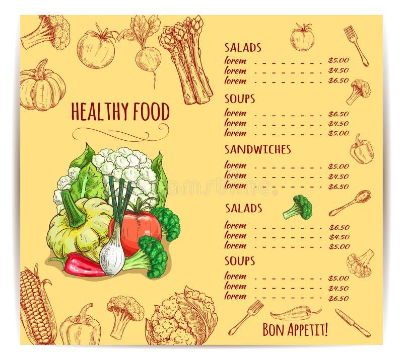 Vegetais e cutelaria no menu com preços ilustração royalty free