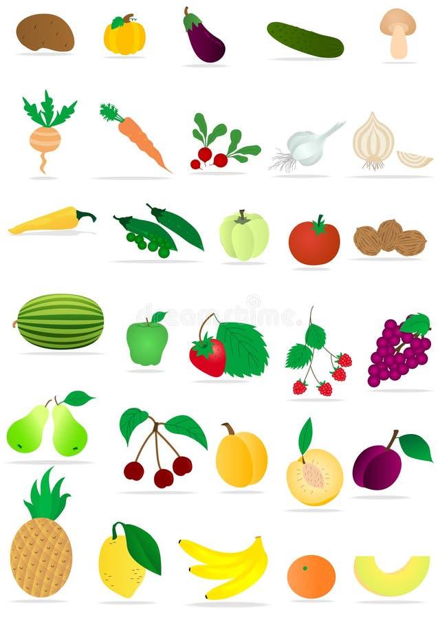 Vegetais e frutas ilustração royalty free