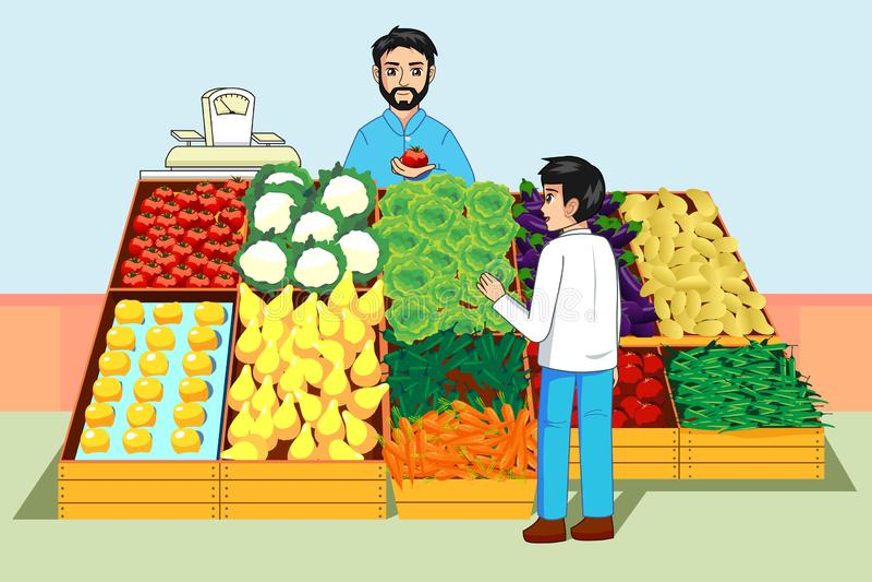 Vegetais e frutos da compra do menino no mercado dos fazendeiros ilustração do vetor