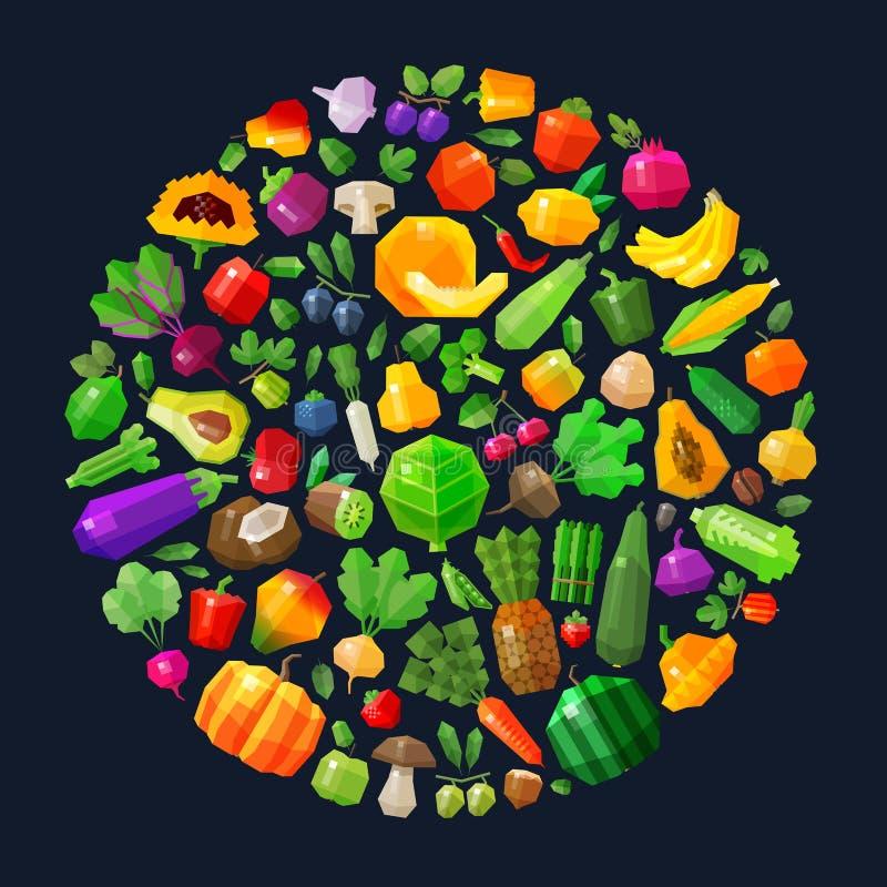 Vegetais e frutos no círculo Alimento fresco ilustração stock
