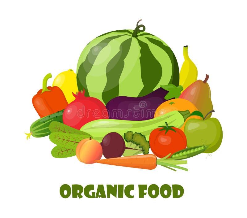Vegetais e frutos orgânicos naturais Composição bonita para o cartão, bandeira, cartaz, inseto, app, Web site em comer saudável, ilustração do vetor