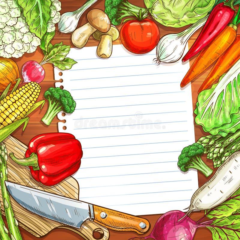 Vegetais e papel vazio no fundo de madeira ilustração royalty free