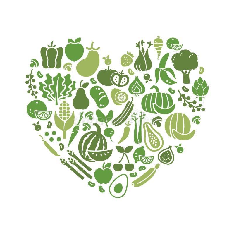 Vegetais em uma forma do coração ilustração royalty free