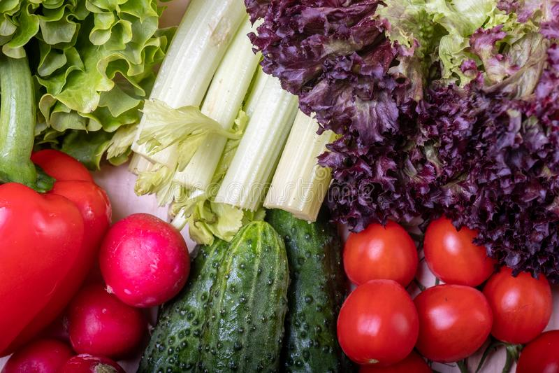 Vegetais em uma tabela de madeira clara, em uma paprika vermelha, em um aipo, em umas folhas da alface, em uma cereja do tomate,  fotos de stock royalty free