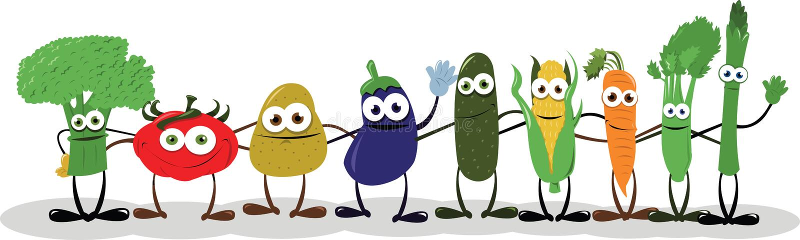 Vegetais engraçados que dizem o olá! ilustração royalty free