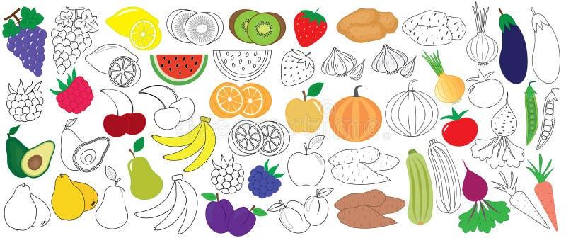 Vegetais, frutos e bagas coloridos e no preto com branco ilustração royalty free