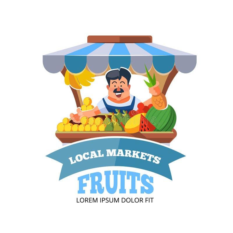 Vegetais locais da venda de fazendeiro do mercado ilustração do vetor