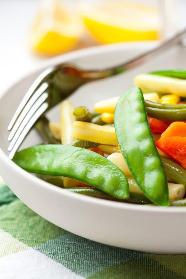 vegetais misturados Agitar-fritados em uma bacia fotografia de stock