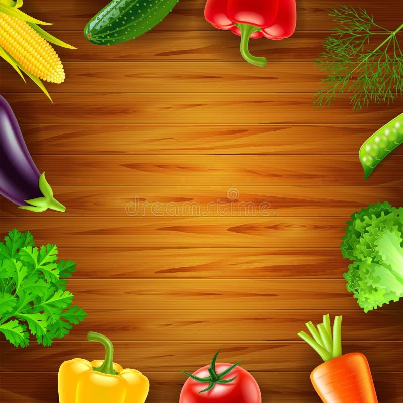 Vegetais na opinião superior do fundo de madeira ilustração stock