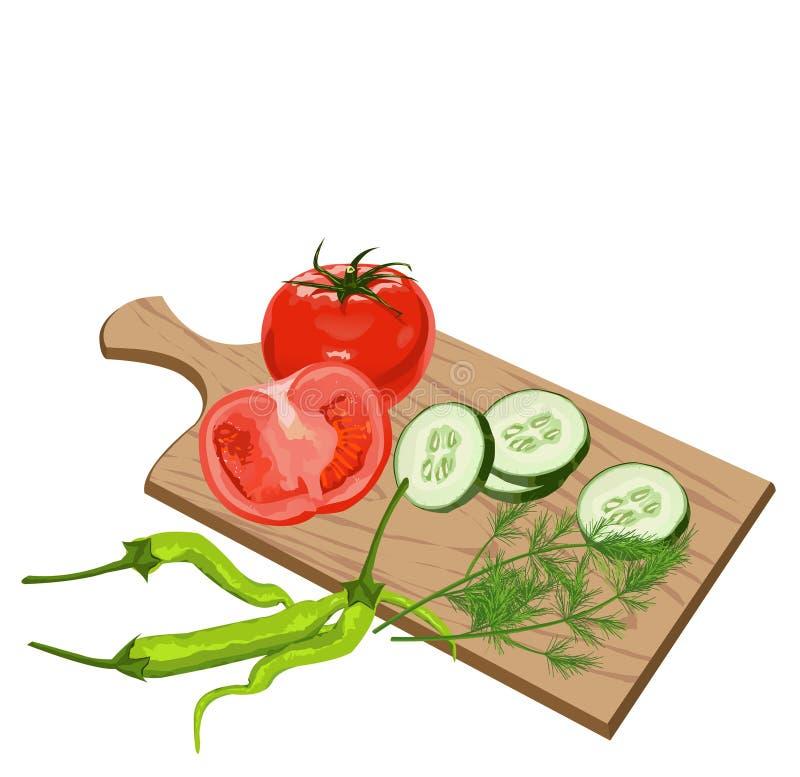 Vegetais na placa de estaca ilustração do vetor