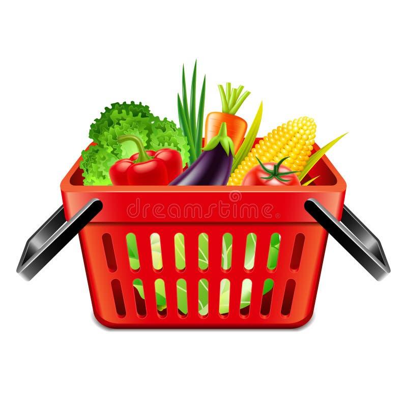 Vegetais no vetor isolado cesta do supermercado ilustração royalty free
