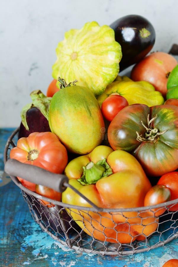 Vegetais orgânicos frescos em uma cesta em um fundo cinzento Colheita da pimenta, dos tomates, da beringela e de mini patissons d foto de stock royalty free