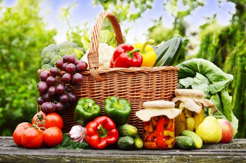 Vegetais orgânicos frescos na cesta de vime no jardim fotos de stock royalty free