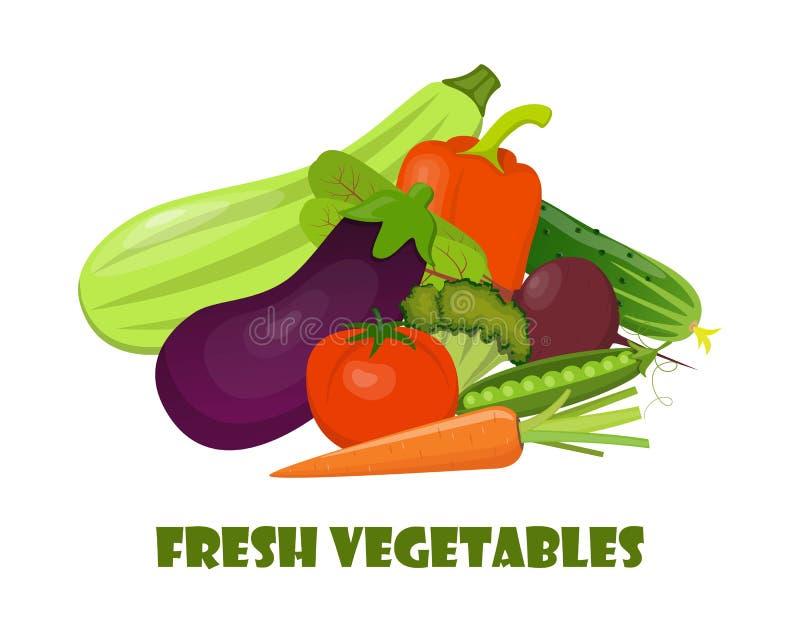 Vegetais orgânicos naturais Composição bonita para o cartão, bandeira, cartaz, inseto, app, Web site em comer saudável, ecológico ilustração royalty free
