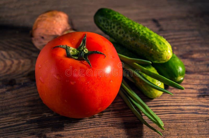 Vegetais org?nicos frescos para a salada no fundo r?stico Tomate, pepinos, close-up das cebolas fotografia de stock royalty free