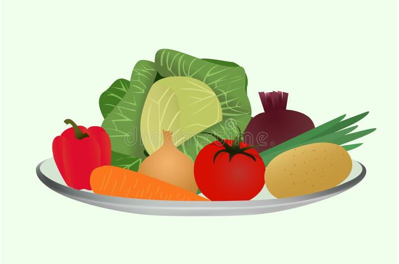 Vegetais para cozinhar a sopa, um grupo de vegetais em uma placa ilustração do vetor