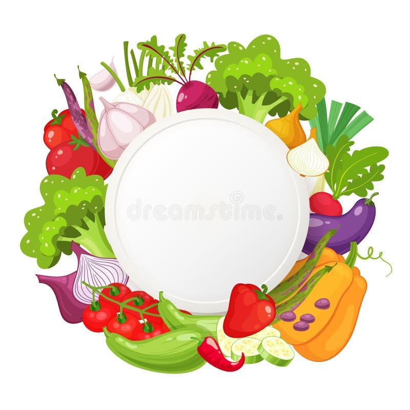 Vegetais saudáveis e bandeira redonda do alimento do vegetariano Alimento biológico fresco, fundo saudável comer com lugar para o ilustração stock