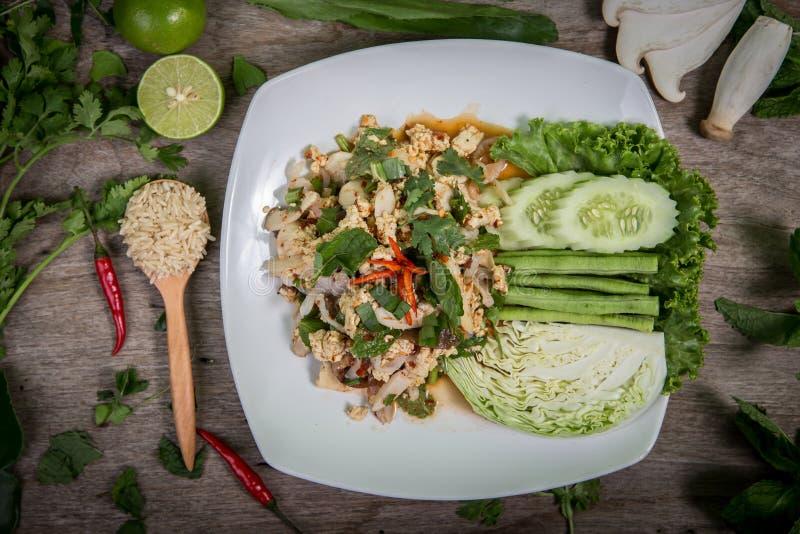 Vegetais triturados picantes, alimento tailandês imagens de stock