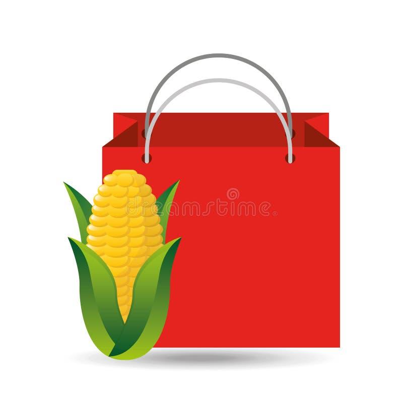 Vegetal de compra da espiga de milho do saco vermelho ilustração do vetor