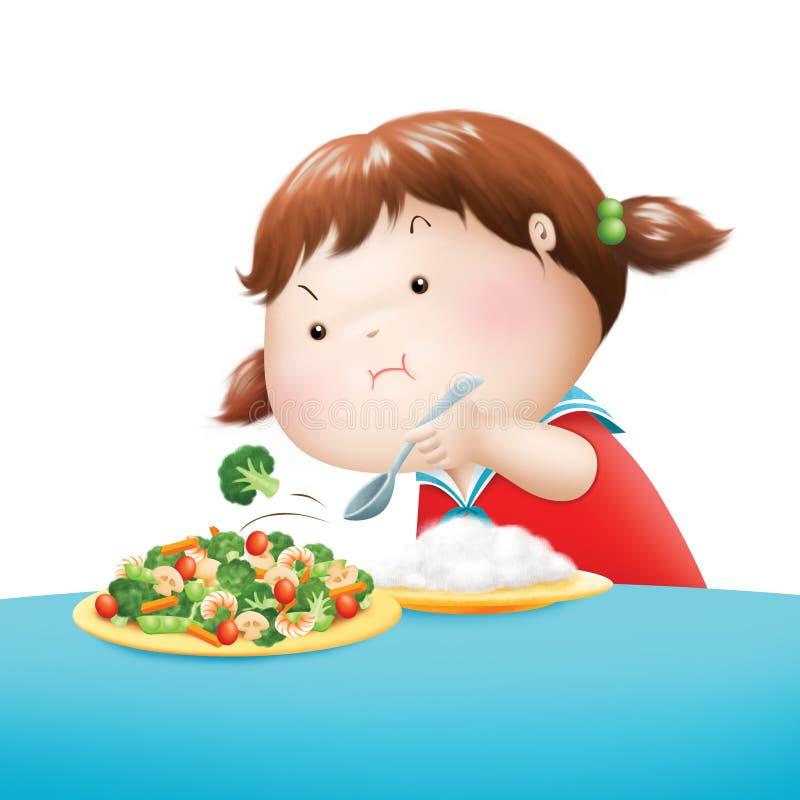 Vegetal do ódio da menina ilustração stock