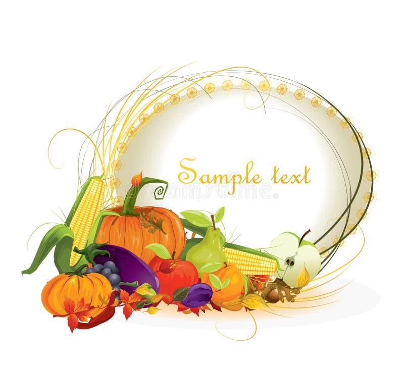 Vegetal e frutas do fundo do outono ilustração royalty free
