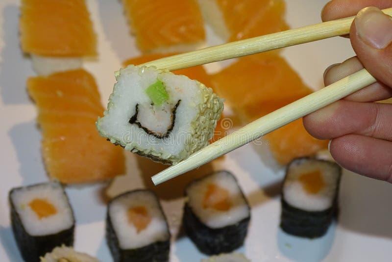 Vegetal mak, suszi jedzenie w szczególe zdjęcia stock