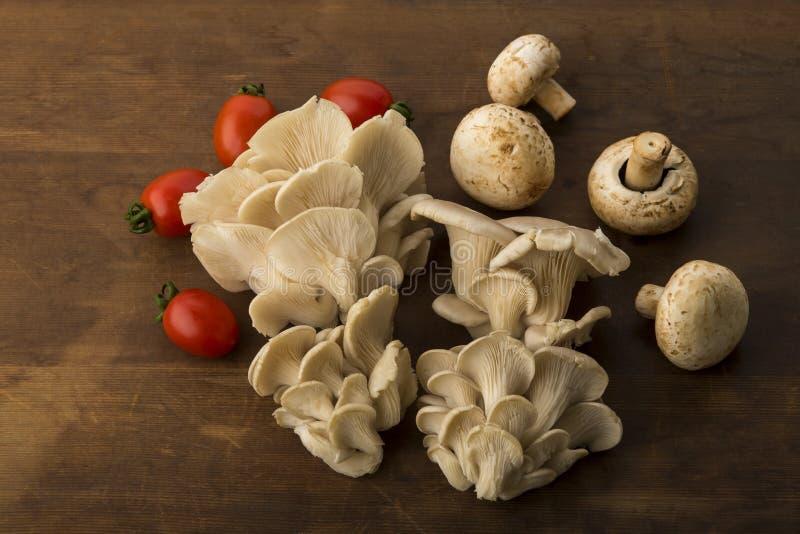 Vegetal: Opinião superior cogumelos da ostra e de botão com os tomates vermelhos do bebê no fundo de madeira de Brown imagem de stock royalty free