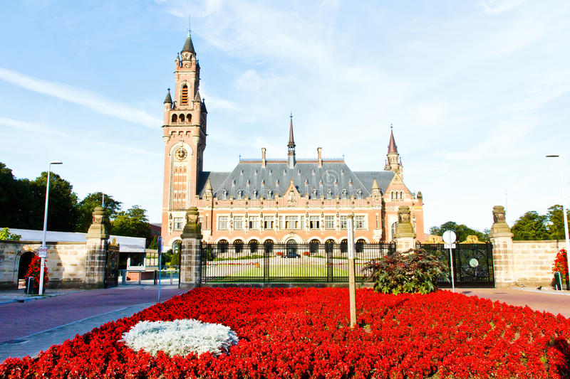 Vegetal Red Carpet at the Peace Palace. Peace Palace Seat of the International Court of Justice, principal organ of the United Nations located in The Hague stock photo