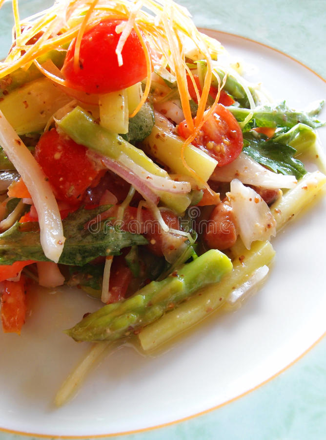 Vegetarian asparagus salad royalty free stock photography