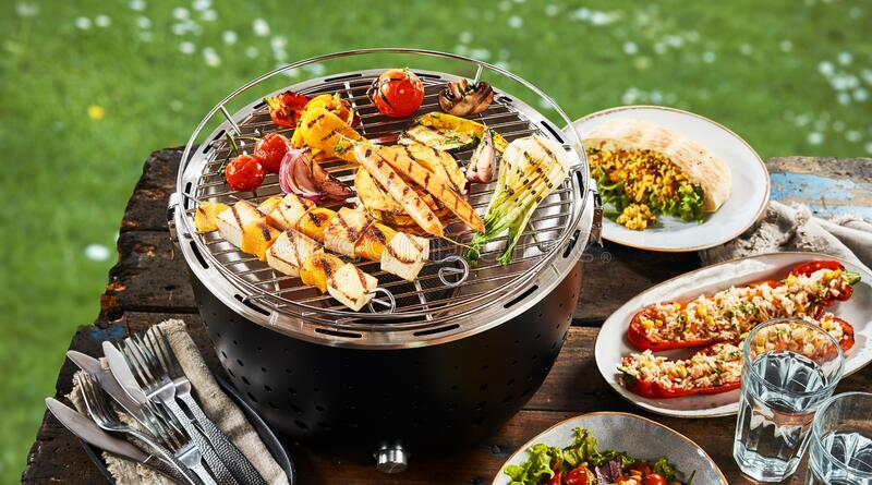 Vegetarian BBQ with grilled and stuffed veggies royalty free stock photos