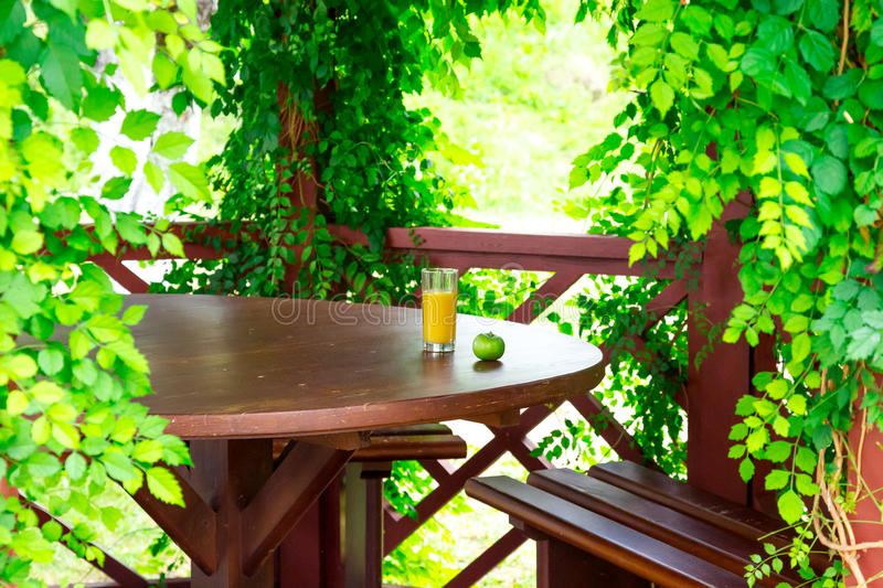 Vegetarian breakfast Green apple and glass orange. Green apple and glass orange juice located on wooden desk inside hotel pavilion surrounded curled tree leafs royalty free stock photos