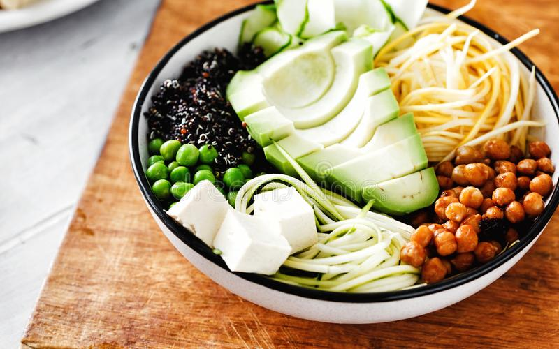 Vegetarian buddha bowl Clean healthy food Spiralized vegetables royalty free stock images