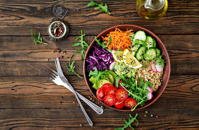 Vegetarian Buddha bowl with quinoa and fresh vegetables stock image