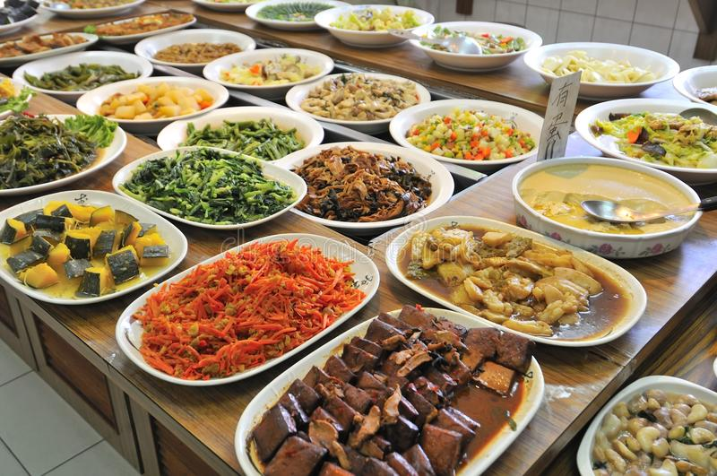 Vegetarian buffet meal. Healthy and nutritious Oriental vegetarian buffet meal royalty free stock photos