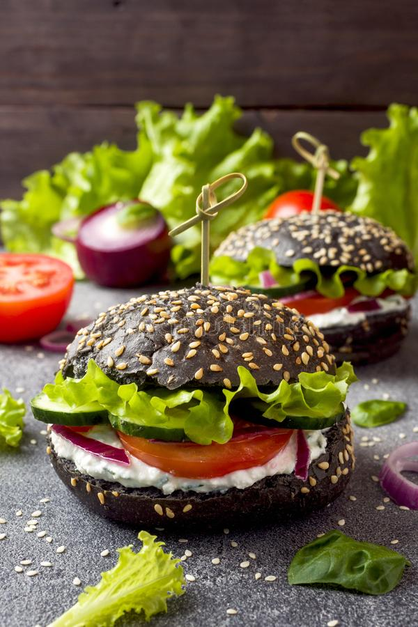 Vegetarian Burger with cottage cheese cream and vegetables royalty free stock image