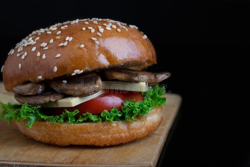 Fried mushroom burger, healthy meal for vegetarian stock image