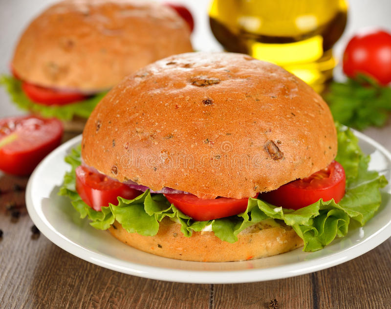 Vegetarian burger with vegetables royalty free stock photos