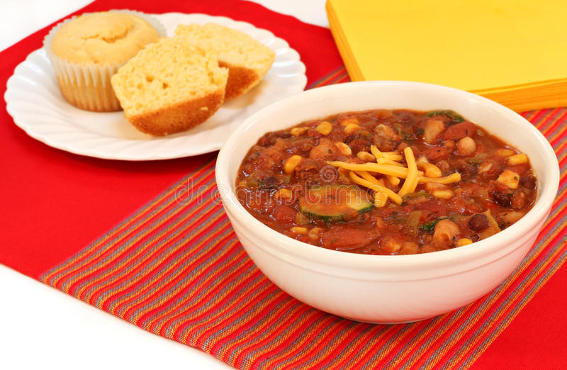 Vegetarian Chili and Corn Muffins stock image
