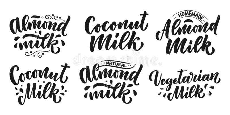 Vegetarian, Coconut, Almond milk lettering quotes for banner, logo and packaging design. Organic nutrition healthy food. Phrases about dairy product. Vector stock illustration