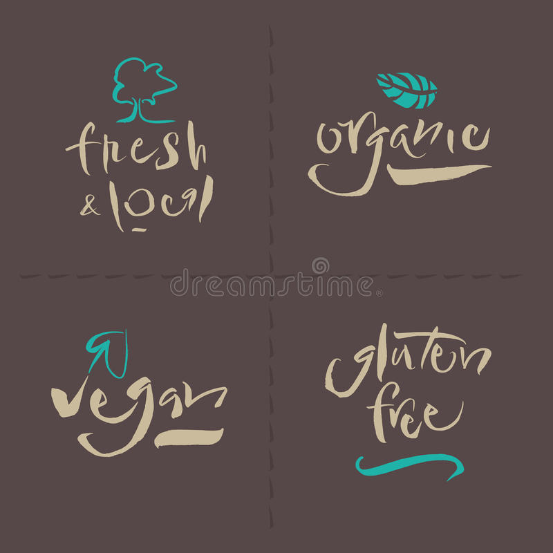 Vegetarian Collection - Calligraphy stock photo