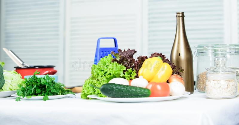 Vegetarian concept. Salad with fresh summer vegetables. Dieting and organic food. Preparation and culinary concept stock photography